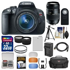 Canon EOS Rebel T5i Digital SLR Camera and EF-S 18-55mm IS STM Lens with 70-300mm Lens + 32GB Card + Case + Battery-Charger + Tripod + Tele-Wide Lens Kit