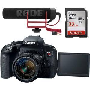 Canon EOS Rebel T7i Digital SLR Camera & EF-S 18-55mm IS STM Lens Video Creator Kit includes RODE GO Microphone & 32GB Card
