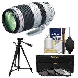 Canon EF 100-400mm f-4.5-5.6 L IS II USM Telephoto Zoom Lens with 3 UV-CPL-ND8 Filters and Tripod and Cleaning Kit