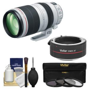 Canon EF 100-400mm f-4.5-5.6 L IS II USM Telephoto Zoom Lens with 2x Teleconverter and 3 UV-CPL-ND8 Filters and Cleaning Kit