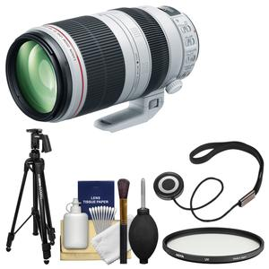 Canon EF 100-400mm f-4.5-5.6 L IS II USM Telephoto Zoom Lens with Hoya Multi-Coated UV Filter and Pistol Grip Tripod and Kit