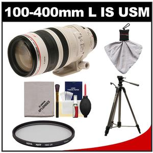 Canon EF 100-400mm f/4.5-5.6 L IS USM Telephoto Zoom Lens with Hoya Multi-Coated UV Filter + Tripod + Accessory Kit