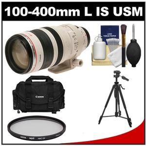 Canon EF 100-400mm f/4.5-5.6 L IS USM Telephoto Zoom Lens with Hoya Multi-Coated UV Filter + Case + Tripod + Cleaning Kit