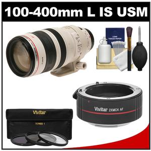 Canon EF 100-400mm f/4.5-5.6 L IS USM Telephoto Zoom Lens with 2x Teleconverter + 3 (UV/ND8/CPL) Filters + Cleaning Kit