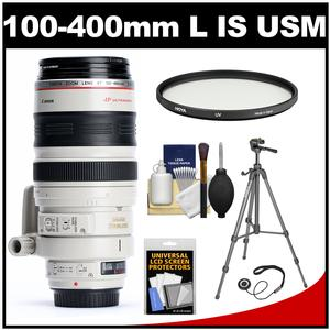Canon EF 100-400mm f/4.5-5.6 L IS USM Telephoto Zoom Lens with Tripod + Filter Kit