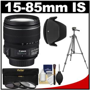 Canon EF-S 15-85mm f/3.5-5.6 IS USM Zoom Lens with Tripod + 3 UV/CPL/ND8 Filters + Hood + Kit