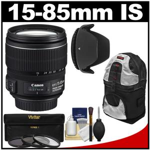 Canon EF-S 15-85mm f/3.5-5.6 IS USM Zoom Lens with Sling Backpack + 3 UV/CPL/ND8 Filters + Hood + Kit