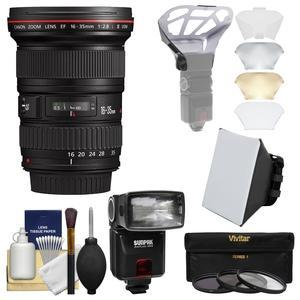 Canon EF 16-35mm f-2.8 L II USM Zoom Lens with Flash and Softbox and Diffuser and 3 UV-CPL-ND8 Filters and Kit