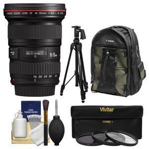 Canon EF 16-35mm f-2.8 L II USM Zoom Lens with Canon Backpack and Pistol-grip Tripod and 3 UV-CPL-ND8 Filters and Kit