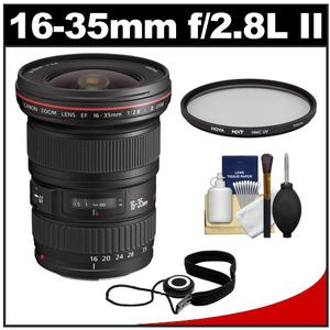 Canon EF 16-35mm f-2.8 L II USM Zoom Lens with Hoya Multi-Coated UV Filter and Accessory Kit