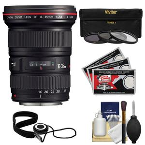Canon EF 16-35mm f-2.8 L II USM Zoom Lens with 3-UV-ND8-CPL-Filters and Accessory Kit