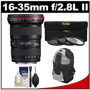 Canon EF 16-35mm f-2.8 L II USM Zoom Lens with Backpack Case and 3-UV-ND8-CPL-Filters and Cleaning Kit
