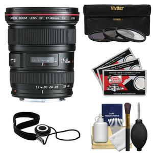 Canon EF 17-40mm f-4 L USM Zoom Lens with 3-UV-ND8-CPL-Filters and Accessory Kit