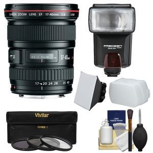 Canon EF 17-40mm f-4 L USM Zoom Lens with 3 Filters and Flash and 2 Diffusers and Kit