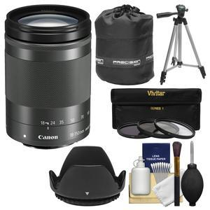 Canon EF-M 18-150mm f-3.5-6.3 IS STM Zoom Lens-Graphite-with Pouch and Tripod and 3 UV-CPL-ND8 Filters and Kit