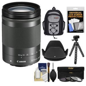 Canon EF-M 18-150mm f-3.5-6.3 IS STM Zoom Lens-Graphite-with Case and Flex Tripod and 3 UV-CPL-ND8 Filters and Lens Hood and Kit