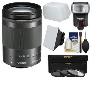 Canon EF-M 18-150mm f-3.5-6.3 IS STM Zoom Lens-Graphite-with Flash and 3 UV-CPL-ND8 Filters and Soft Box and Diffuser and Kit