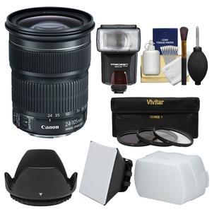 Canon EF 24-105mm f-3.5-5.6 IS STM Zoom Lens with Flash and Soft Box and Diffuser and 3 Filters and Kit