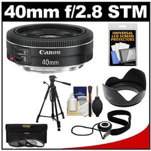 Canon EF 40mm f-2.8 STM Pancake Lens with 3-UV-CPL-ND8-Filters and Hood and Tripod and Accessory Kit