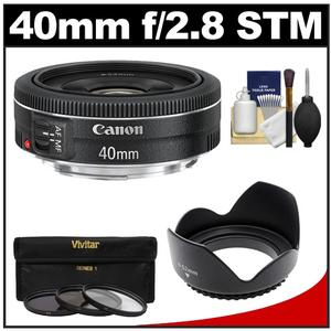 Canon EF 40mm f-2.8 STM Pancake Lens with 3-UV-CPL-ND8-Filters and Hood and Cleaning Kit