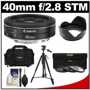 Canon EF 40mm f-2.8 STM Pancake Lens with Canon 2400 Case and 3-UV-CPL-ND8-Filters and Hood and Tripod and Accessory Kit