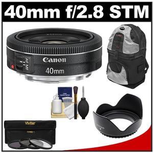 Canon EF 40mm f-2.8 STM Pancake Lens with 3-UV-CPL-ND8-Filters and Hood and Backpack and Accessory Kit