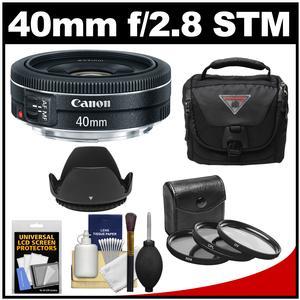 Canon EF 40mm f/2.8 STM Pancake Lens with Camera Bag + 3 Filters + Hood + Kit
