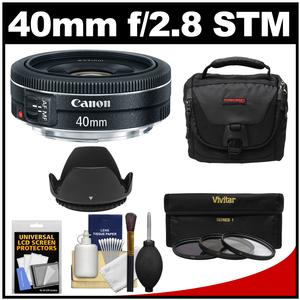 Canon EF 40mm f-2.8 STM Pancake Lens with Camera Bag and 3 Filters and Hood and Kit