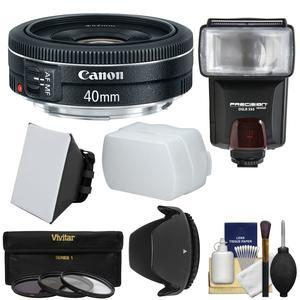 Canon EF 40mm f-2.8 STM Pancake Lens with 3 Filters and Hood and Flash and 2 Diffusers and Kit