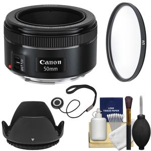 Canon EF 50mm f-1.8 STM Lens with UV Filter and Lens Hood and Kit