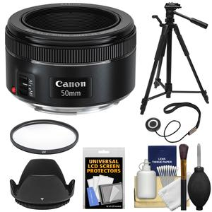 Canon EF 50mm f-1.8 STM Lens with UV Filter and Lens Hood and Tripod and Kit
