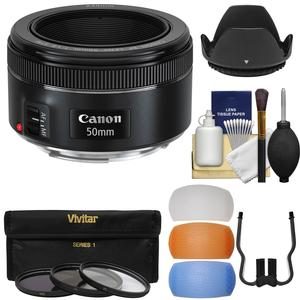 Canon EF 50mm f-1.8 STM Lens with 3 UV-CPL-ND8 Filters and Hood and Diffusers and Kit