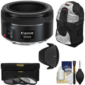 Canon EF 50mm f-1.8 STM Lens with 3 UV-CPL-ND8 Filters and Hood and Backpack and Kit