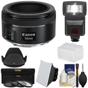 Canon EF 50mm f-1.8 STM Lens with Flash and Diffusers and 3 UV-CPL-ND8 Filters and Hood and Kit