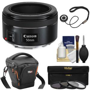 Canon EF 50mm f-1.8 STM Lens with Case and 3 UV-CPL-ND8 Filters and Kit
