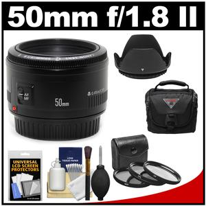 Canon EF 50mm f/1.8 II Lens with Camera Bag + 3 Filters + Hood + Kit