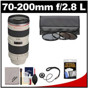 Canon EF 70-200mm f/2.8L USM Zoom Lens with 3 Hoya UV/CPL/ND8 Filters + Accessory Kit