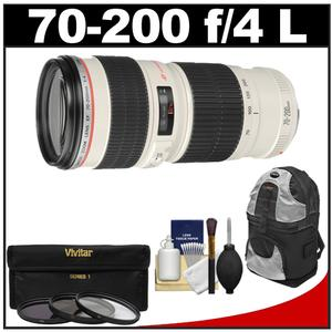 Canon EF 70-200mm f-4 L USM Zoom Lens with Backpack and 3-UV-ND8-CPL-Filters and Cleaning Kit