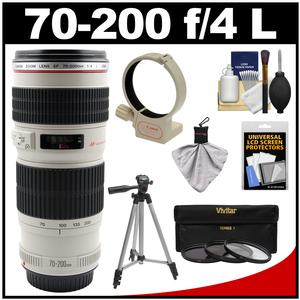 Canon EF 70-200mm f/4 L USM Zoom Lens with 3 UV/CPL/ND8 Filters + Ring Collar + Tripod + Accessory Kit