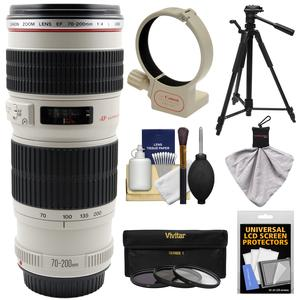Canon EF 70-200mm f-4 L USM Zoom Lens with 3 UV-CPL-ND8 Filters and Ring Collar and Tripod and Accessory Kit