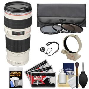 Canon EF 70-200mm f-4 L USM Zoom Lens with 3 Hoya UV-CPL-ND8 Filters and Tripod Ring Collar and Accessory Kit