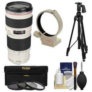 Canon EF 70-200mm f-4 L USM Zoom Lens with Tripod and Ring Collar and 3 UV-CPL-ND8 Filters and Kit