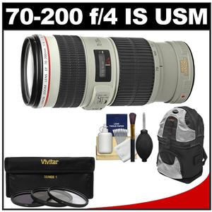 Canon EF 70-200mm f-4L IS USM Zoom Lens with 3 Hoya UV-CPL-ND8 Filters and Backpack and Accessory Kit