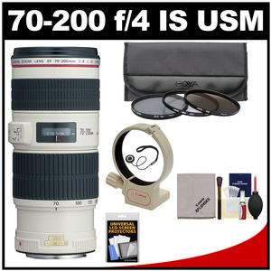 Canon EF 70-200mm f/4L IS USM Zoom Lens with 3 UV/CPL/ND8 Filters + Tripod Mount + Kit