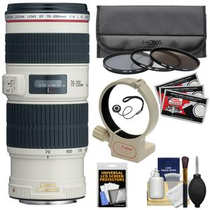 Canon EF 70-200mm f-4L IS USM Zoom Lens with 3 UV-CPL-ND8 Filters and Tripod Mount and Kit