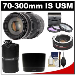 Canon EF 70-300mm f/4-5.6 IS USM Zoom Lens with 2x Teleconverter + 3 UV/FLD/CPL Filters + Hood + Accessory Kit