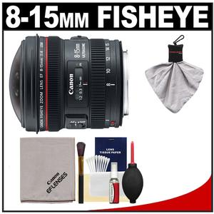 Canon EF 8-15mm f/4.0 L USM Fisheye Zoom Lens with Case & EW-77 Lens Hood + Canon Cleaning Kit