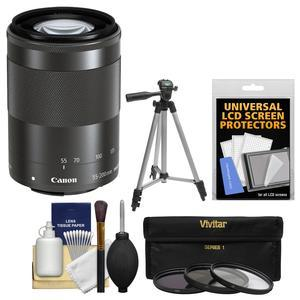 Canon EF-M 55-200mm f-4.5-6.3 IS STM Lens-Black-with Tripod and 3 UV-CPL-ND8 Filters and Kit