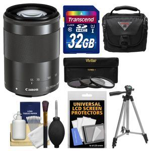 Canon EF-M 55-200mm f-4.5-6.3 IS STM Lens-Black-with 32GB Card and Case and 3 UV-CPL-ND8 Filters and Tripod and Kit