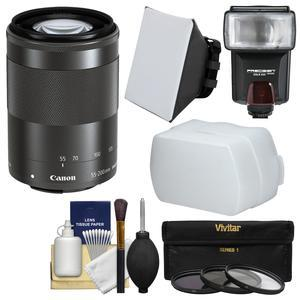 Canon EF-M 55-200mm f-4.5-6.3 IS STM Lens-Black-with Flash and Soft Box and Bounce Diffuser and 3 UV-CPL-ND8 Filters and Kit